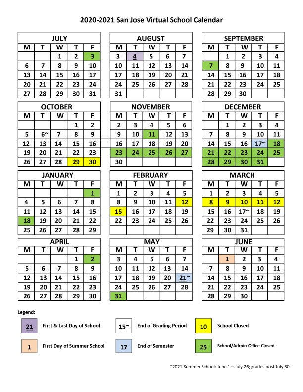 2020 - 2021 San Jose Virtual School Calendar